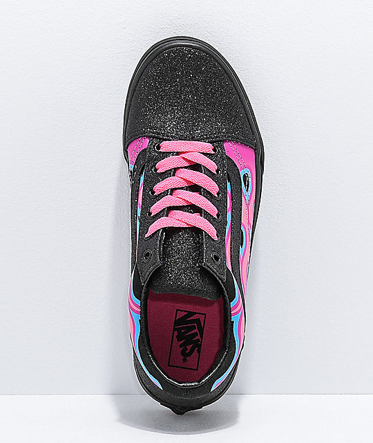 87e6066a2c50 ... Vans Old Skool Sparkle Flame Pink   Black Skate Shoes ...