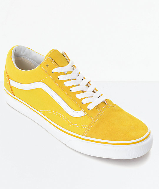 40a82ba1d33 Vans Old Skool Spectra Yellow   White Skate Shoes