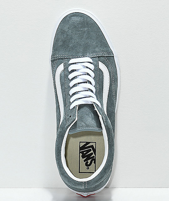 ff7c131a63 ... Vans Old Skool Stormy Grey   White Pig Suede Skate Shoes ...