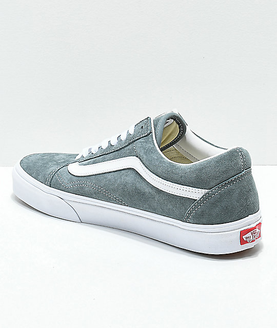 9df31822d1 ... Vans Old Skool Stormy Grey   White Pig Suede Skate Shoes ...