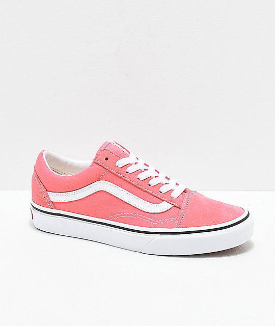 e745673c32 Vans Old Skool Strawberry Pink   White Skate Shoes