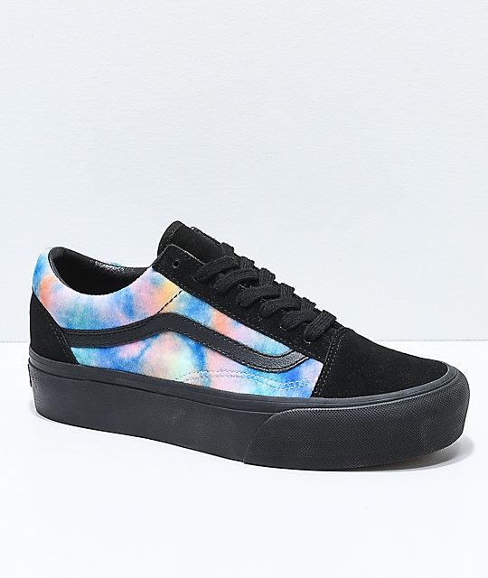 ac10ae5157 Vans Old Skool Tie Dye   Black Velvet Platform Skate Shoes