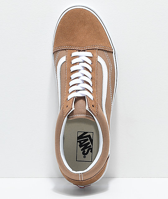 3ae583417589 ... Vans Old Skool Tiger Eye Tan   White Skate Shoes ...