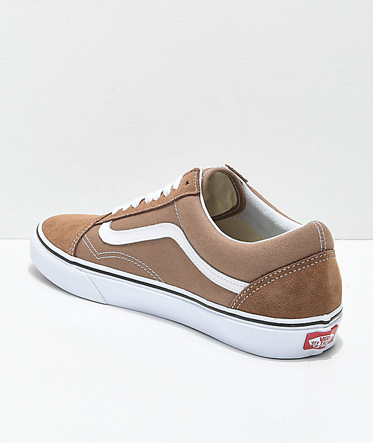 6eaa933e91a2 ... Vans Old Skool Tiger Eye Tan   White Skate Shoes ...