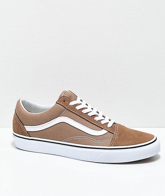 Vans Old Skool Tiger Eye Tan   White Skate Shoes  3fb97311b
