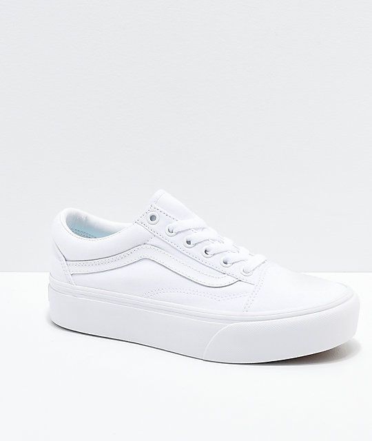 Vans Old Skool True White Platform Shoes