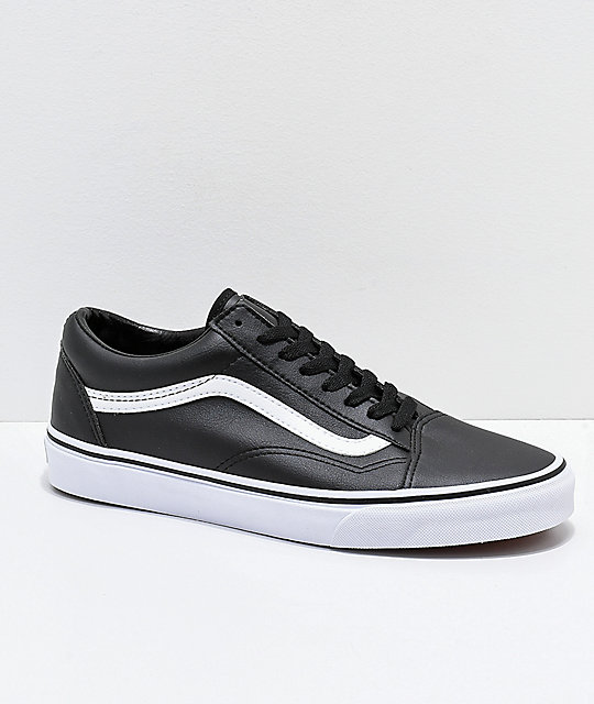 a1b849a001 Vans Old Skool Tumble Black & White Leather Skate Shoes