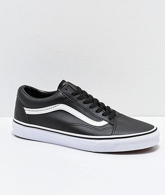 vans old skool black and white leather