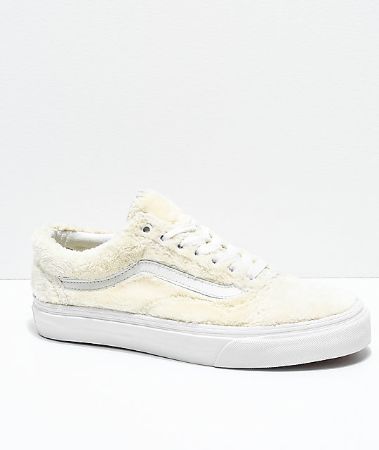 Vans Old Skool Turtledove zapatos de skate de sherpa blanca