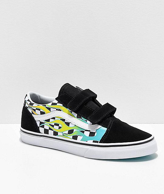 c018add4ea8388 Vans Old Skool V Surf Flames Skate Shoes