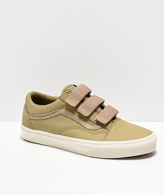 Vans Old V Tan Skate Shoes Leather Skool EDHI92