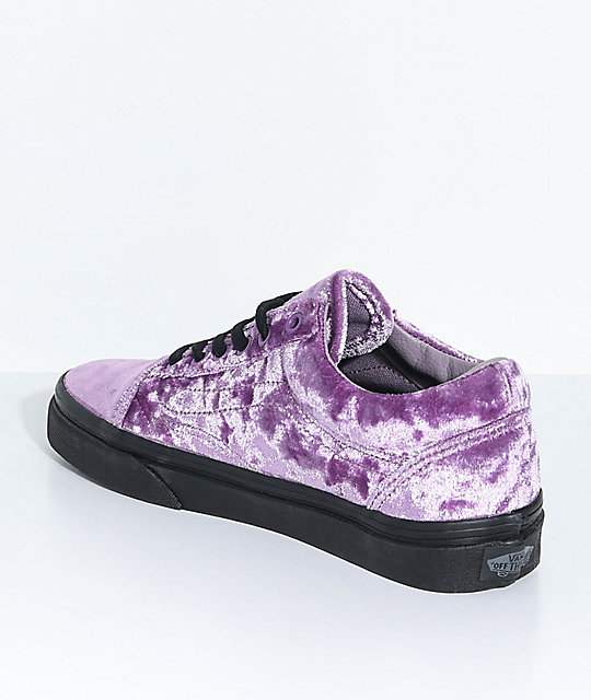 Vans Old Skool Velvet Sea Fog & Black Skate Shoes