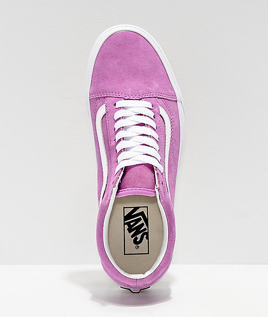 Vans Old Skool Violet & White Pig Suede Skate Shoes