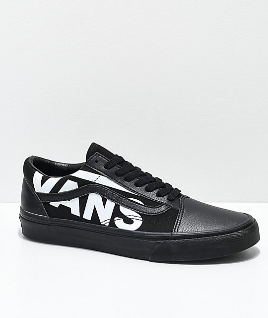 Vans Old Skool White Logo Black Skate Shoes by Vans