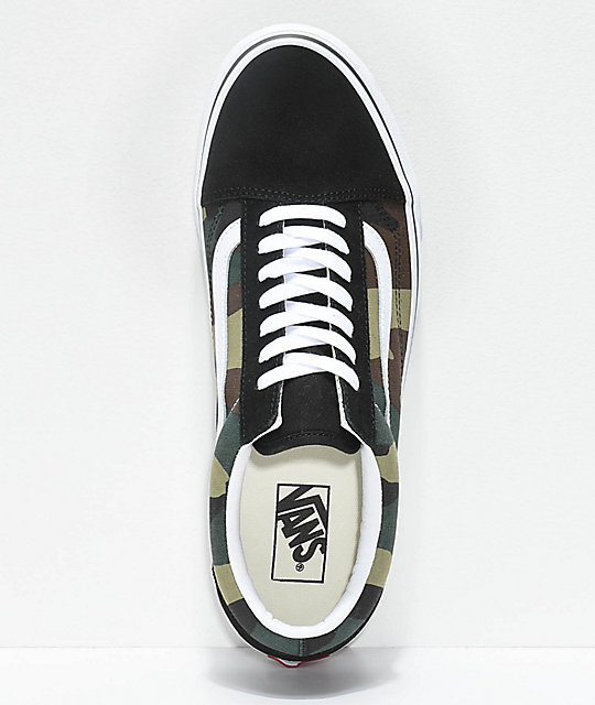 Vans Old Skool Woodland Camo & Black Skate Shoes