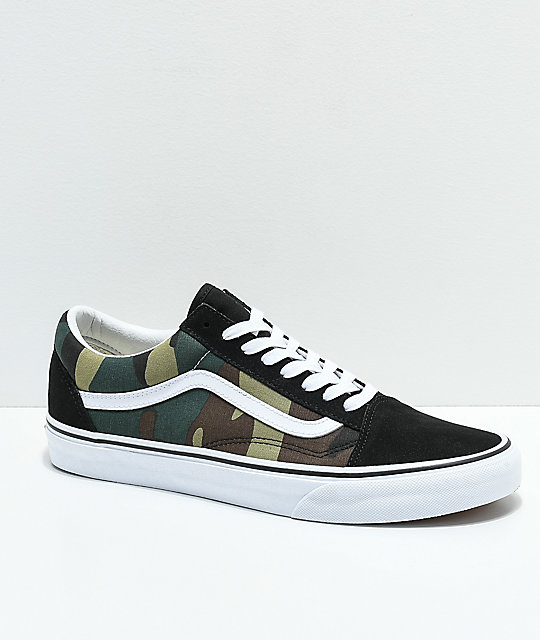 162e768b Vans Old Skool Woodland Camo & Black Skate Shoes