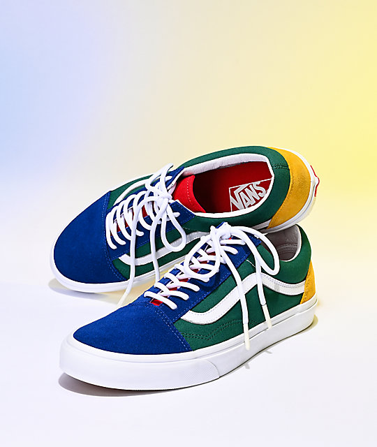 Vans Old Skool Yacht Club Blue, Green, Yellow & Red Skate Shoes