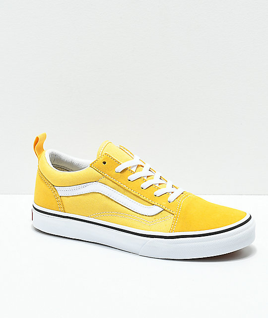 d05aff1ee62 Vans Old Skool Yellow   True White Skate Shoes