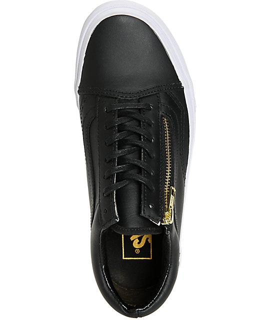 c18273c3fa0f ... Vans Old Skool Zip Black Leather Shoes ...
