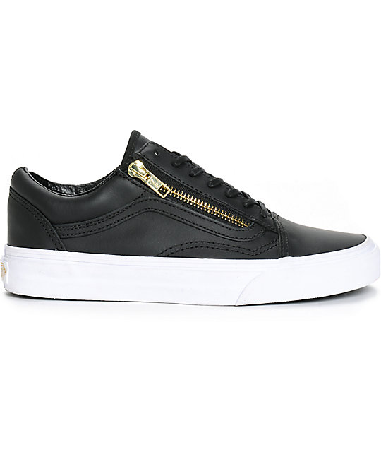 6b6d22a482b Vans Old Skool Zip Black Leather Shoes | Zumiez