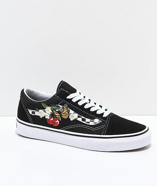 68417127f Vans Old Skool zapatos de skate de flores y cuadros ...