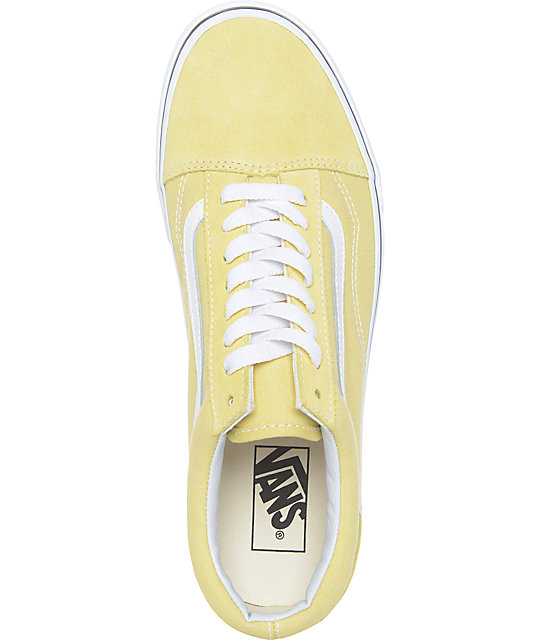 Vans Old Skool zapatos de skate en blanco y color amarillo