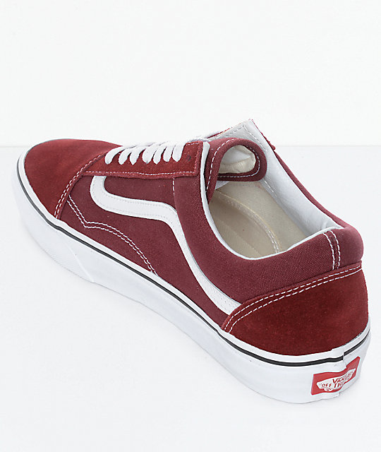 Vans Old Skool zapatos de skate en blanco y marrón rojo