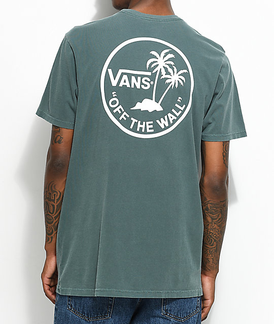 Vans Palm Circle camiseta en verde y blanco