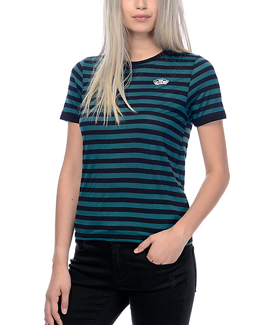 e3d1525160 Vans Patch Green & Black Stripe Ringer T-Shirt | Zumiez