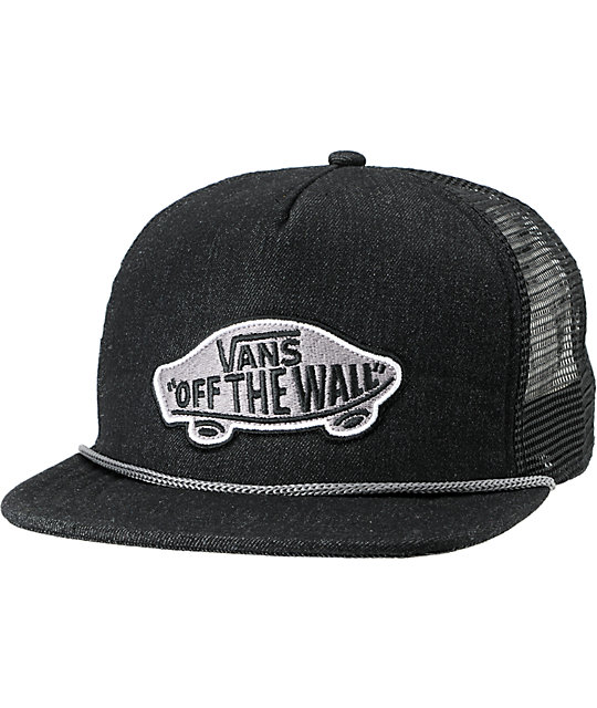 Vans Patchwork Black Denim Snapback Trucker Hat