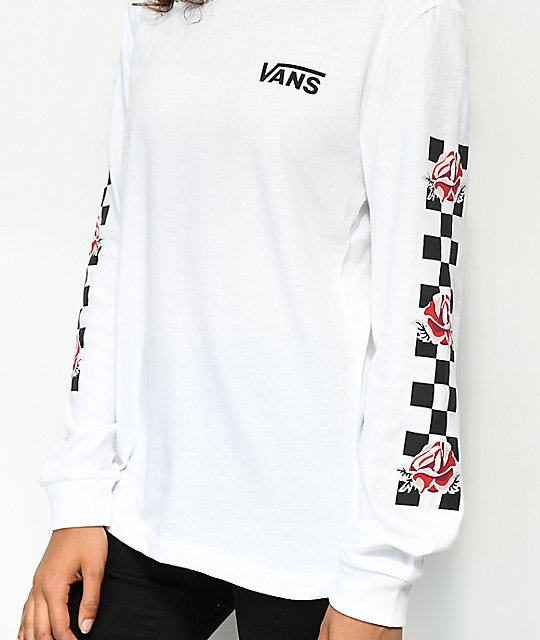 Vans Patchwork Rose White Long Sleeve T-Shirt