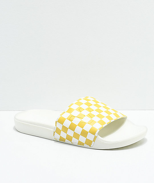 2023e5fa481 vans pineapple checkerboard slide on sandals zumiez .