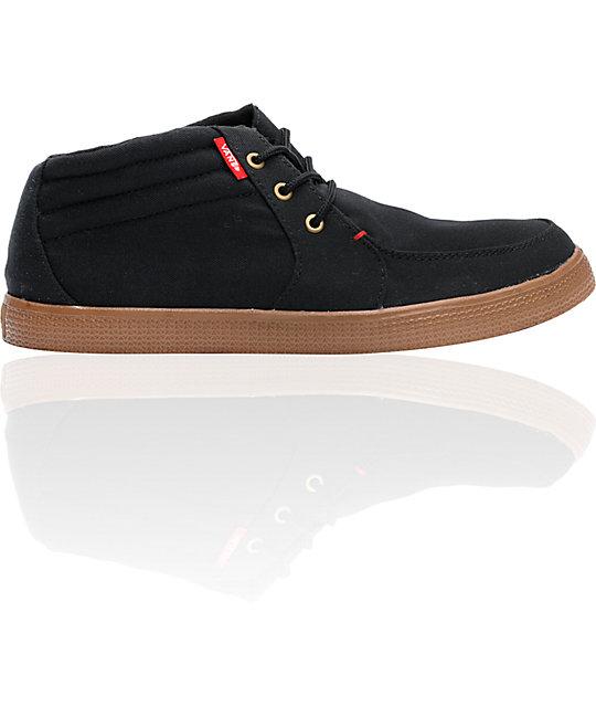 c899a4f93be7 Vans Raglan PET Black   Red Midtop Skate Shoes