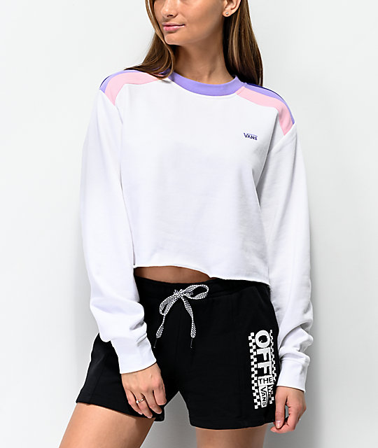 Vans Rainee White Crop Crew Neck Sweatshirt