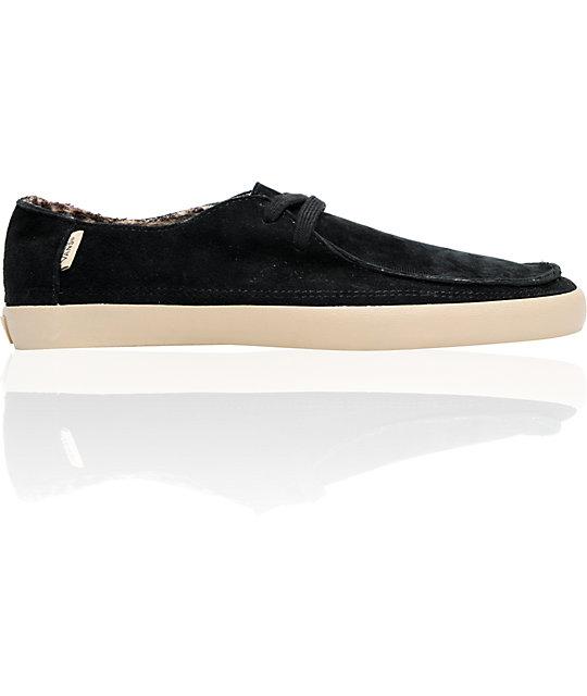 55b0324517 Vans Rata Vulc Black Shag   Flannel Skate Shoes