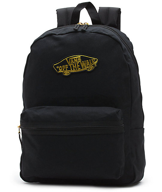 5a349bb270 Vans Realm 50th Anniversary Black   Gold Backpack