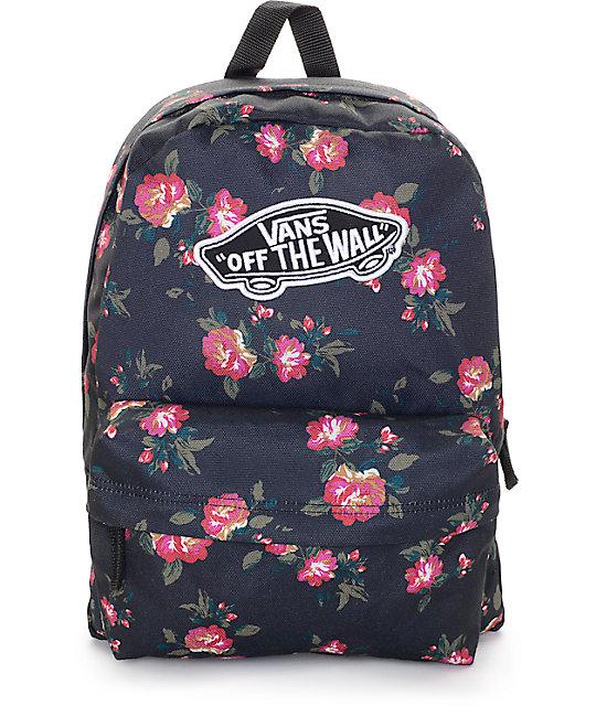 9123891943 Vans Realm Black Floral Backpack