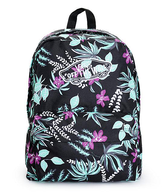 c52c796441 Vans Realm Black Floral Print Backpack