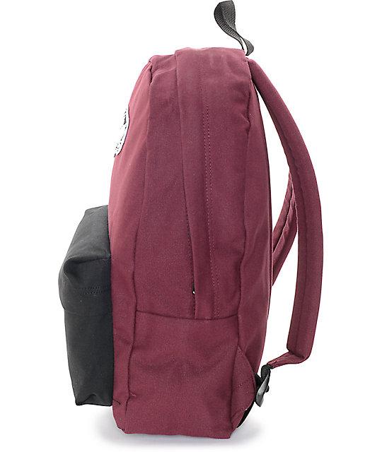 8aa2737ba12 ... Vans Realm Burgundy   Black Colorblock Backpack ...