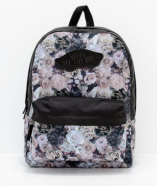 3fca895d83412c Vans Realm Floral Black 22L Backpack