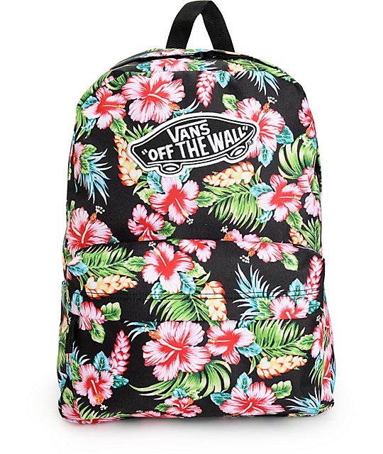 6f77a65eb2 Vans Realm Hawaiian Black Backpack