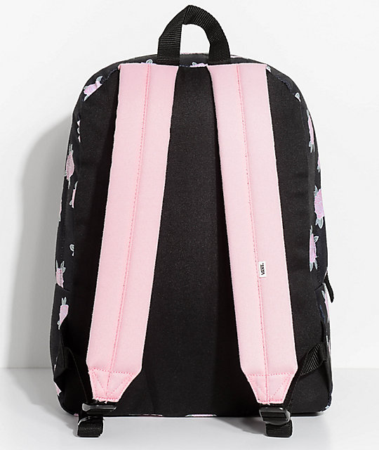 e0d8650a0d72 ... Vans Realm Pink   Black Floral 22L Backpack ...