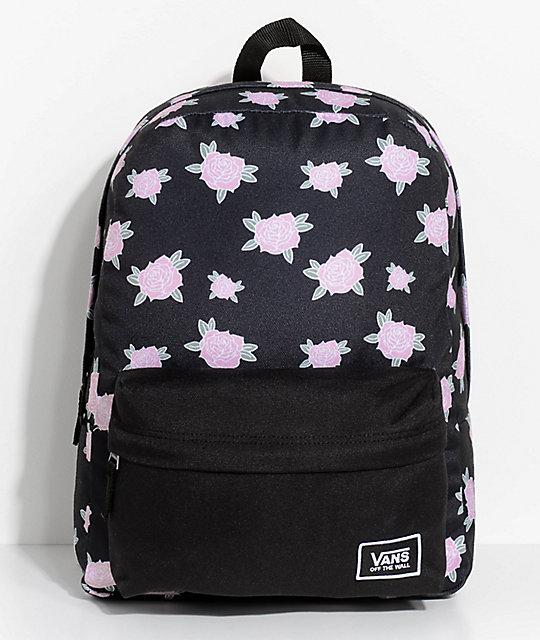 80937e5e36a8 Vans Realm Pink   Black Floral 22L Backpack
