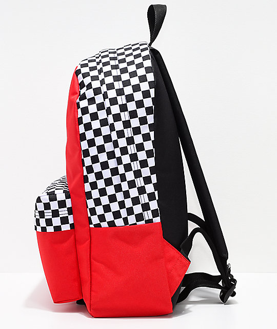 155f4557454 ... Vans Realm Racing Red   Checkerboard Flame Backpack ...