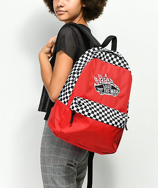 ... Vans Realm Racing Red   Checkerboard Flame Backpack ... 719a570588556