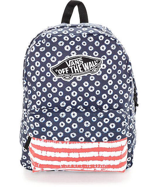 802aa11dcec0a Vans Realm Red, White & Blue Dyed Dots & Stripes Backpack