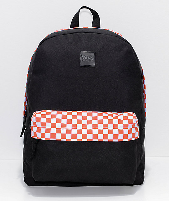 e4ff6ed7b4b320 Vans Realm Sporty Orange Checker 22L Backpack