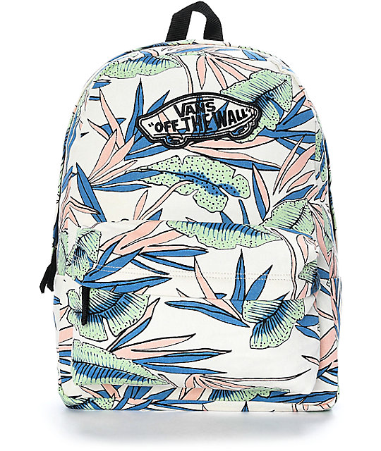 415cd37a2 Vans Realm White Sand Tropical Backpack | Zumiez