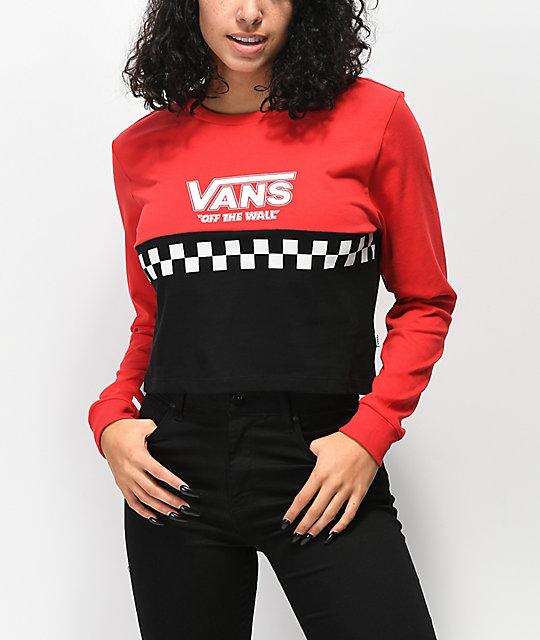 82a70f886fe Vans Red & Black Colorblock Crop Long Sleeve T-Shirt | Zumiez