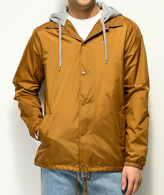 ba4be22d407 Vans Riley Tan Hooded Coaches Jacket | Zumiez.ca